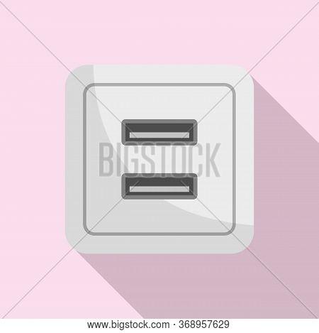Usb Power Socket Icon. Flat Illustration Of Usb Power Socket Vector Icon For Web Design