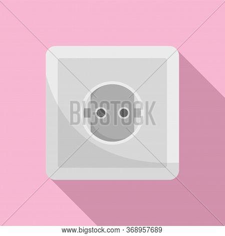 European Power Socket Icon. Flat Illustration Of European Power Socket Vector Icon For Web Design