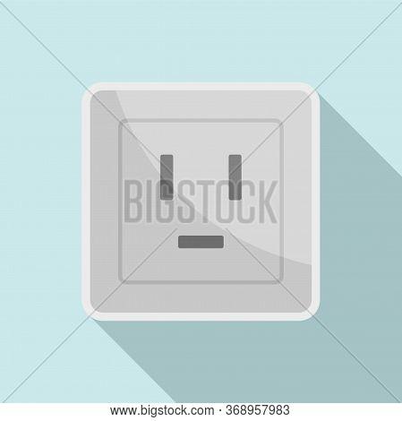 Electric Power Socket Icon. Flat Illustration Of Electric Power Socket Vector Icon For Web Design
