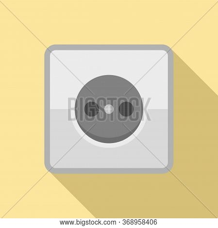 Home Power Socket Icon. Flat Illustration Of Home Power Socket Vector Icon For Web Design