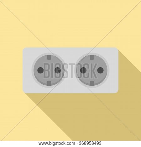 Double Wall Power Socket Icon. Flat Illustration Of Double Wall Power Socket Vector Icon For Web Des