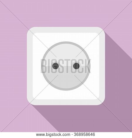 Cable Power Socket Icon. Flat Illustration Of Cable Power Socket Vector Icon For Web Design