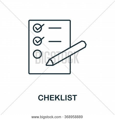 Checklist Icon From Planing Collection. Simple Line Checklist Icon For Templates, Web Design And Inf