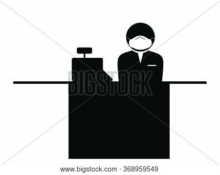 Cashier With Mask Icon. Black And White Pictogram Depicting Cashier Check Out Counter Stick Figure W