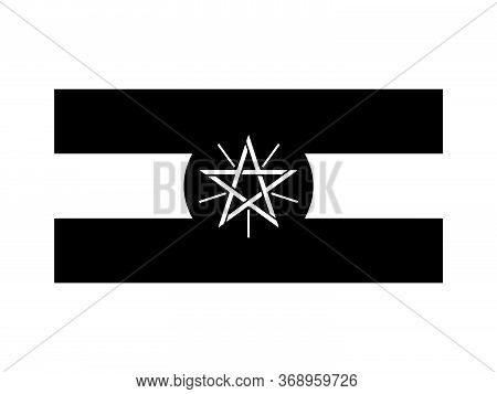 Ethiopia Flag Black And White. Country National Emblem Banner. Monochrome Grayscale Eps Vector File.