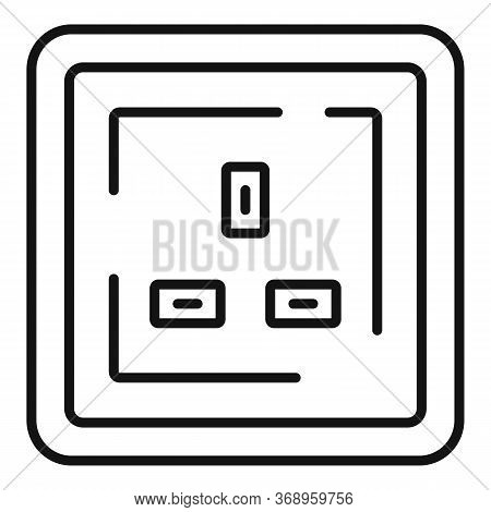Type G Power Socket Icon. Outline Type G Power Socket Vector Icon For Web Design Isolated On White B