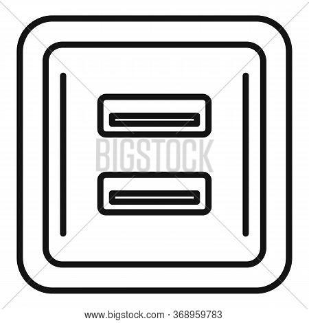 Usb Power Socket Icon. Outline Usb Power Socket Vector Icon For Web Design Isolated On White Backgro