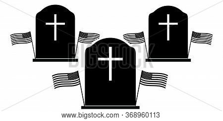 Memorial Day Three Tombstone. Black And White Pictogram Depicting Three Tombstone With American Flag