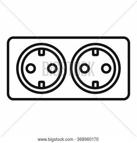 Double Wall Power Socket Icon. Outline Double Wall Power Socket Vector Icon For Web Design Isolated