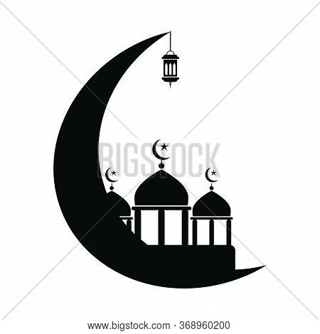 Mosque With Crescent And Lantern. Black And White Pictogram Depicting Islamic Muslim Mosque Lanterns