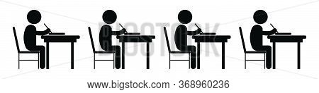 Multiple Student Studying Classroom. Black And White Pictogram Depicting Many Students Study Writing