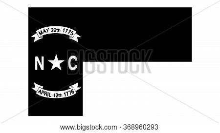 North Carolina Nc State Flag. United States Of America. Black And White Eps Vector File.