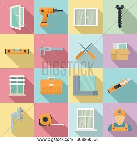 Window Installation Icons Set. Flat Set Of Window Installation Vector Icons For Web Design