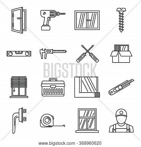 Home Window Installation Icons Set. Outline Set Of Home Window Installation Vector Icons For Web Des