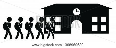 Students Going To School Carrying Bags. Black And White Pictogram Depicting Attending Entering Schoo