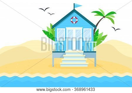 Flat Vector Tropical Illustration Of Beach Hut On Sea Side Landscape. Concept Of Summer Vacation In