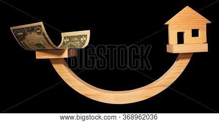 Balance Concept, Curved Wooden Board As Balance Isolated On Black Background, Balancing On A Swing I