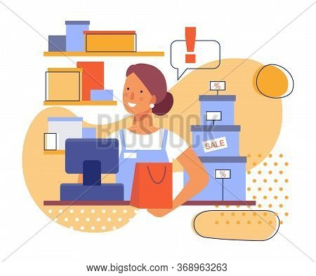 Saleswoman At Work In The Store. Flat Stylized Illustration