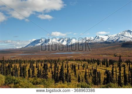 View Of Snow Capped Mountains And Valley Along The Glen Highway In Alaska