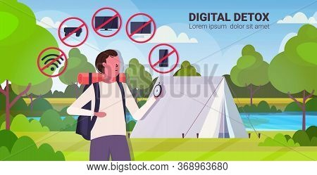 Traveler With Backpack Holding Compass Gadgets In Red Prohibition Signs Digital Detox Concept Guy Hi