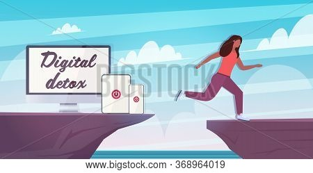 Woman Jumping Over Cliff Abyss Running Away From Gadgets Digital Detox Concept Girl Escaping From Di