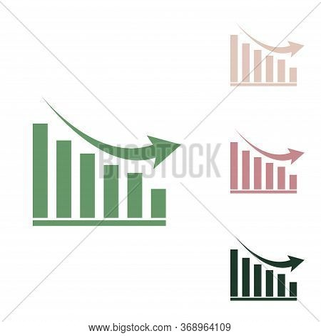 Declining Graph Sign. Russian Green Icon With Small Jungle Green, Puce And Desert Sand Ones On White