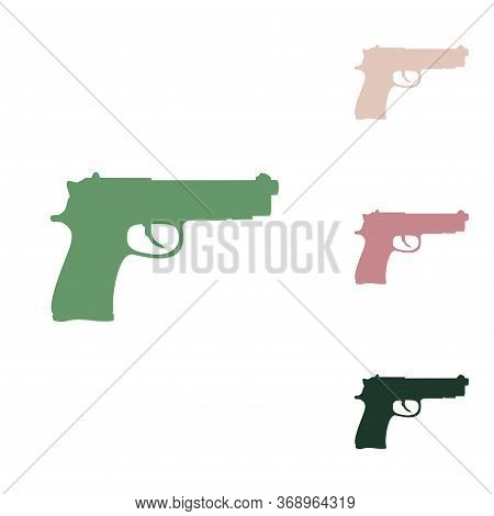 Gun Sign Illustration. Russian Green Icon With Small Jungle Green, Puce And Desert Sand Ones On Whit