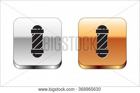 Black Classic Barber Shop Pole Icon Isolated On White Background. Barbershop Pole Symbol. Silver-gol