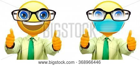 Emoji Businessman with Glasses Fogging Up from Mask and One without a Mask