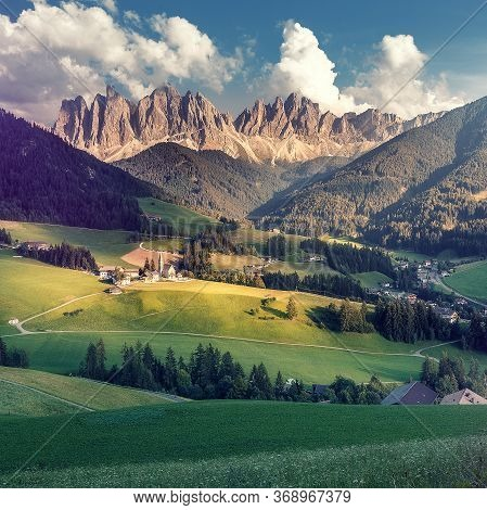 Wonderful Nature Landscape. Val Di Funes, Trentino Alto Adige, Italy. The Great Autumnal Colors Shin