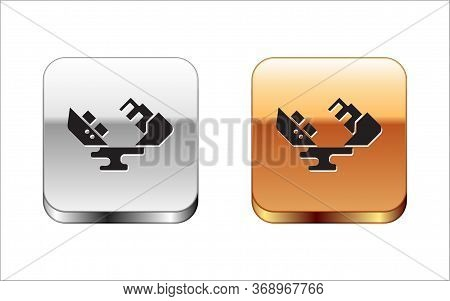 Black Wrecked Oil Tanker Ship Icon Isolated On White Background. Oil Spill Accident. Crash Tanker. P