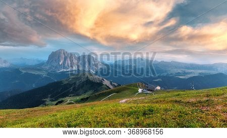 Incredible Nature Landscape View Of The Beautiful Langkofel Group Of The Dolomites Alps During Sunse