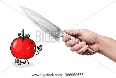 Man Hand Holding Knife, Tomato Is Kneeling. Photo And Color Flat Illustration. Isolated On White Bac