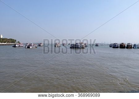 MUMBAI, INDIA - FEBRUARY 15, 2020: Ferries near the Gateway of India in Mumbai, India