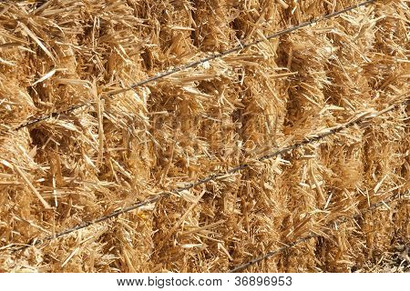 Hay bale straped in wire
