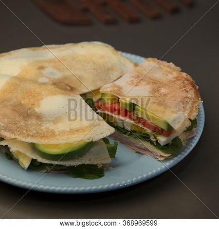 Healthy Food, Pancake, Vegetarian And Meat, Chees