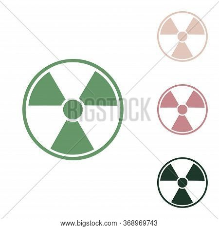Radiation Round Sign. Russian Green Icon With Small Jungle Green, Puce And Desert Sand Ones On White