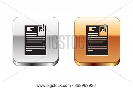 Black Lawsuit Paper Icon Isolated On White Background. Silver-gold Square Button. Vector Illustratio
