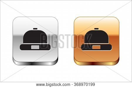 Black Beanie Hat Icon Isolated On White Background. Silver-gold Square Button. Vector Illustration.