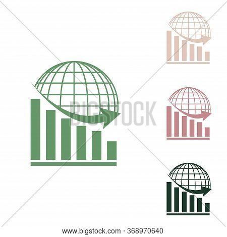 Declining Graph With Earth. Russian Green Icon With Small Jungle Green, Puce And Desert Sand Ones On