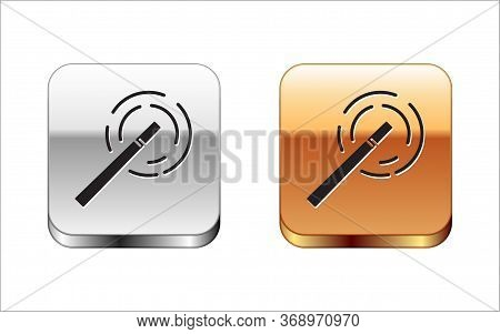 Black Magic Wand Icon Isolated On White Background. Star Shape Magic Accessory. Magical Power. Silve