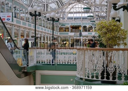 Dublin, Ireland - 30 July 2019: Stephen\'s Green Shopping Centre, Grafton Street, The Most Prestigio