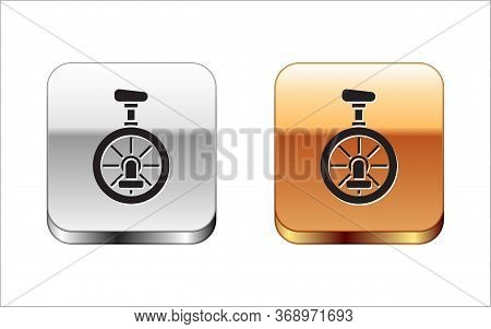 Black Unicycle Or One Wheel Bicycle Icon Isolated On White Background. Monowheel Bicycle. Silver-gol