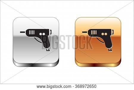 Black Electric Hot Glue Gun Icon Isolated On White Background. Hot Pistol Glue. Hot Repair Work Appl