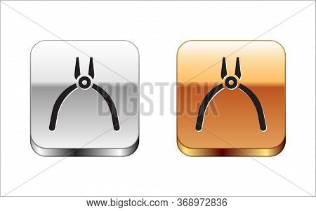 Black Pliers Tool Icon Isolated On White Background. Pliers Work Industry Mechanical Plumbing Tool.