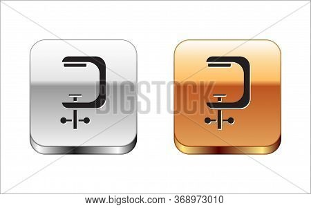 Black Clamp And Screw Tool Icon Isolated On White Background. Locksmith Tool. Silver-gold Square But