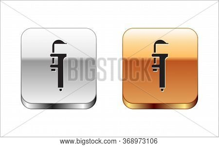 Black Calliper Or Caliper And Scale Icon Isolated On White Background. Precision Measuring Tools. Si