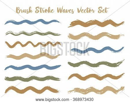 Minimalistic Brush Stroke Waves Vector Set. Hand Drawn Brown Brushstrokes, Ink Splashes, Watercolor
