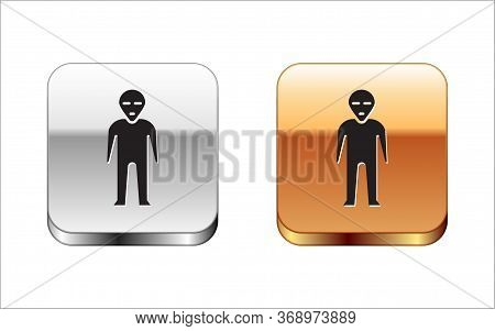 Black Alien Icon Isolated On White Background. Extraterrestrial Alien Face Or Head Symbol. Silver-go