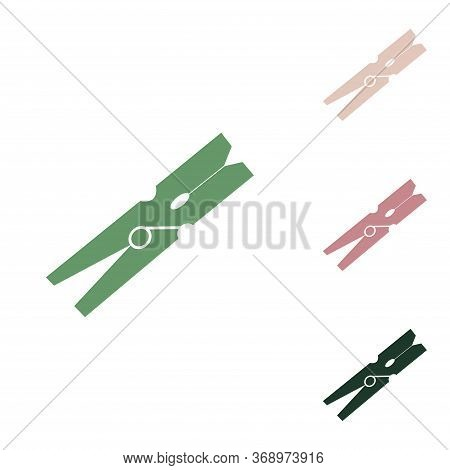 Clothes Peg Sign. Russian Green Icon With Small Jungle Green, Puce And Desert Sand Ones On White Bac